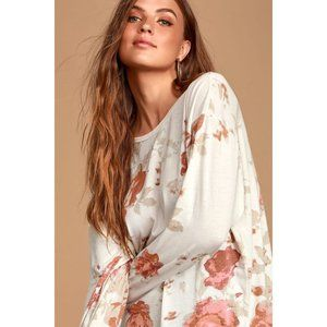 NEW Free People Arielle Top Ivory Floral Size XL